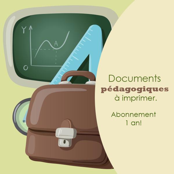 Abonnement annuel au ressources pédagogiques à imprimer
