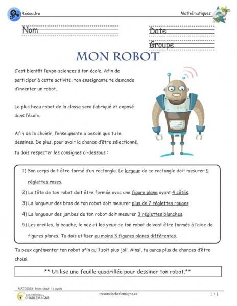 Mon robot - 1e cycle situation-problème en mathématique