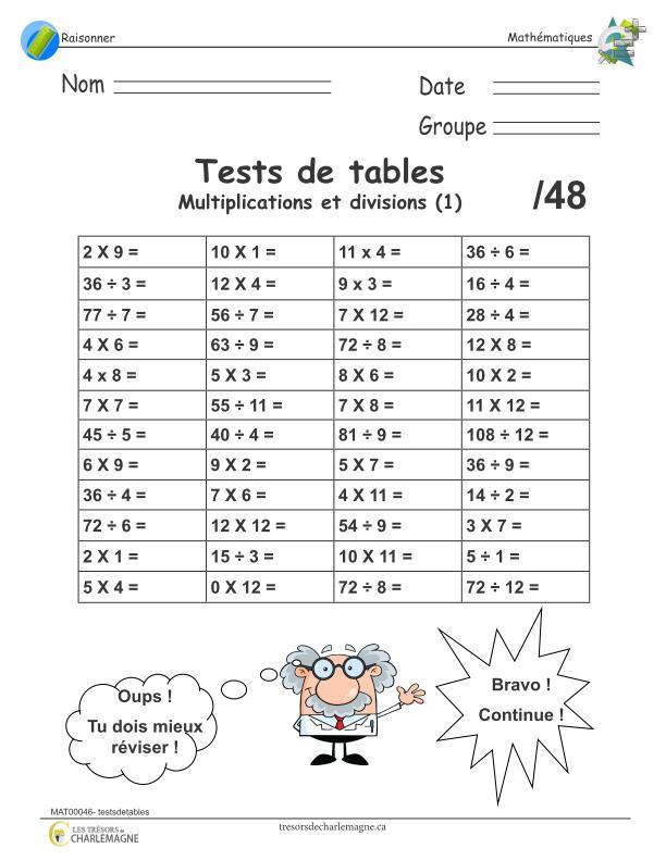 Tests de multiplications et divisions tr sors de charlemagne - Exercice tables de multiplication ...
