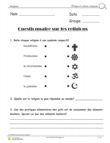 Questionnaire- religions - Document pédagogique téléchargeable