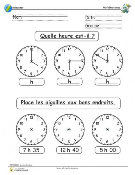Exercice mathématique primaire - horloge