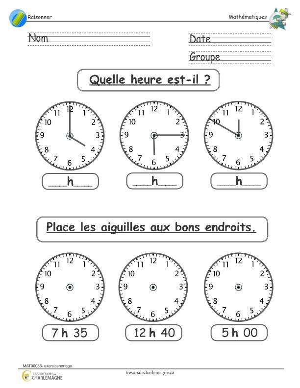 Exercice Horloge Document Pedagogique A Imprimer