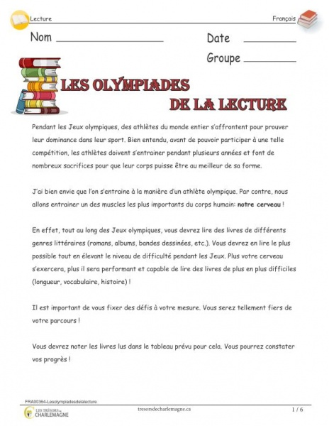 Exercice de lecture - primaire - les olympiades