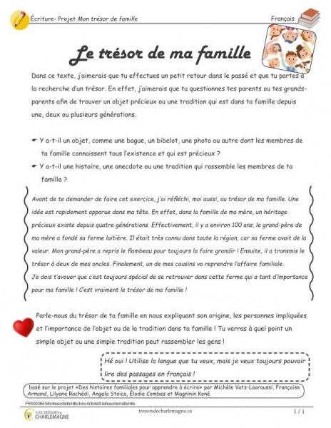 Mon trésor de famille - Le trésor de ma famille - écriture - éthique