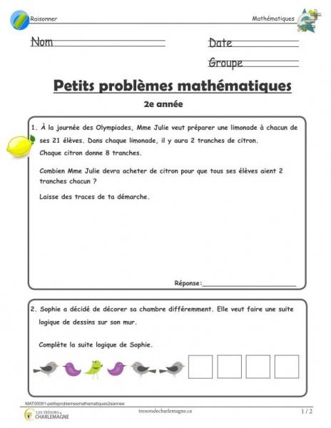 Petits problèmes mathématiques à imprimer - 2e année