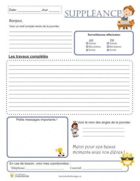 Rapport de suppléance - gratuit - organisation - jeune enseignant