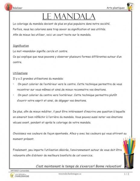 Le mandala - Signification et utilités du mandala - document pédagogique