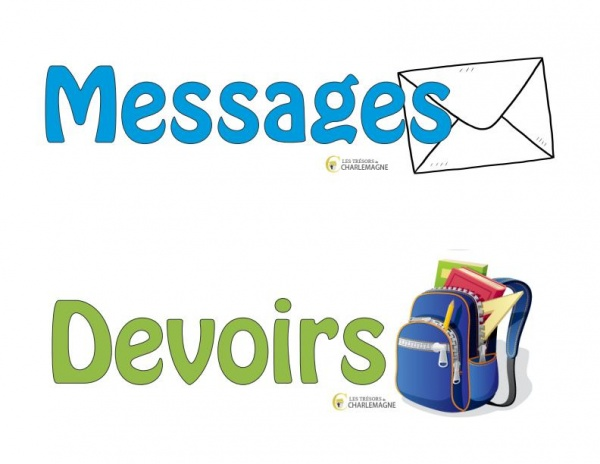 Affiches pour paniers - messages et devoirs - document téléchargeable