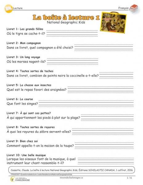 Questions de lecture - Les boîtes à lecture National Geographic Kids