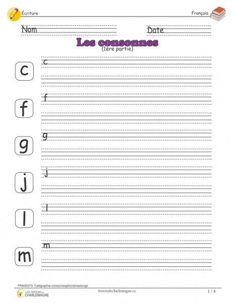 Calligraphie - consonnes (1ère partie) - document pédagogique