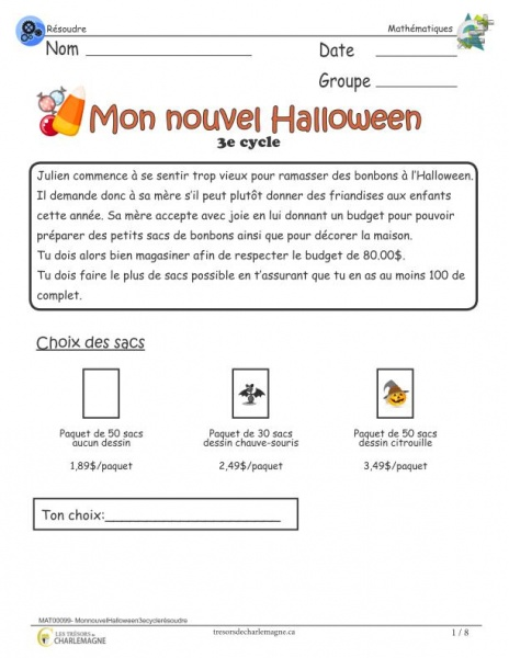 Mon nouvel Halloween - 3 cycle - Situation-problème
