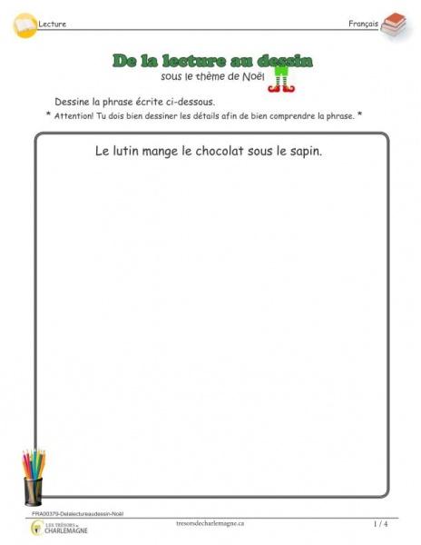 De la lecture au dessin - Noël - document pédagogique téléchargeable