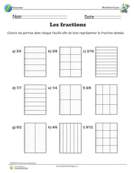 Exercice - Les fractions - document pédagogique téléchargeable
