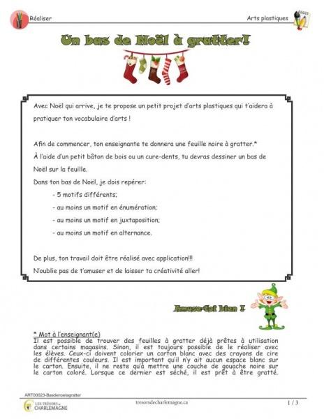 Bas de Noël à gratter - arts - document pédagogique téléchargeable gratuit
