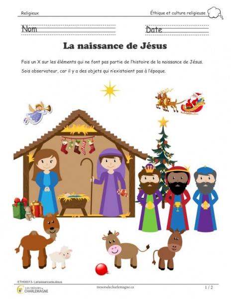 La naissance de Jésus - document pédagogique téléchargeable