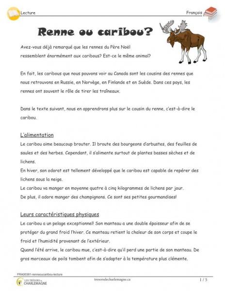 Renne ou caribou? - lecture - document pédagogique téléchargeable