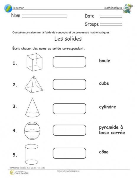 Exercice les solides - 1er cycle - document pédagogique téléchargeable