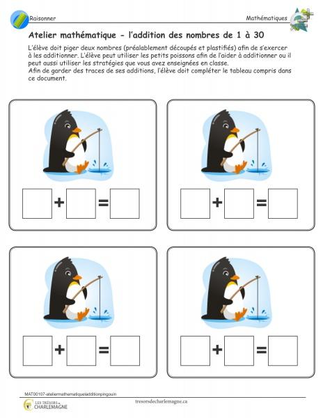 Atelier mathématique - l'addition des nombres de 1 à 30